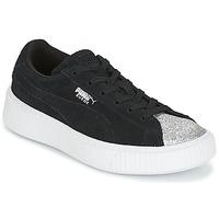 Cipők Lány Rövid szárú edzőcipők Puma SUEDE PLATFORM GLAM PS Fekete  / Ezüst