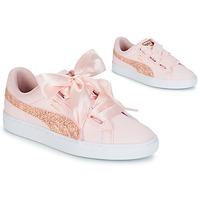 Cipők Női Rövid szárú edzőcipők Puma BASKET HEART CANVAS W'S Rózsaszín