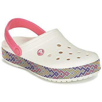 Cipők Női Klumpák Crocs CROCBAND GALLERY CLOG Fehér / Rózsaszín