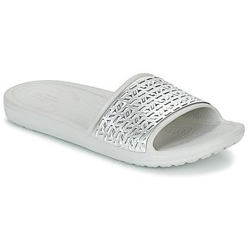 Cipők Női strandpapucsok Crocs SLOANE GRAPHIC ETCHED SLIDE W Fehér / Ezüst