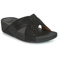 Cipők Női Papucsok FitFlop CRYSTAL II SLIDE SANDALS Fekete