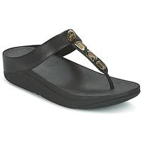 Cipők Női Lábujjközös papucsok FitFlop ROKA TOE-THONG SANDALS Fekete