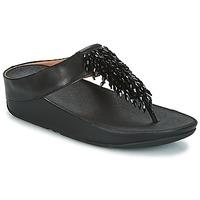 Cipők Női Lábujjközös papucsok FitFlop CHA-CHA TOE-THONG SANDALS CRYSTAL Fekete