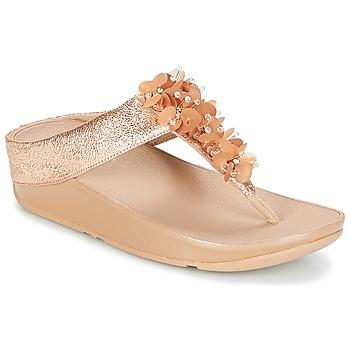Cipők Női Lábujjközös papucsok FitFlop BOOGALOO TOE POST Rózsaszín / Arany
