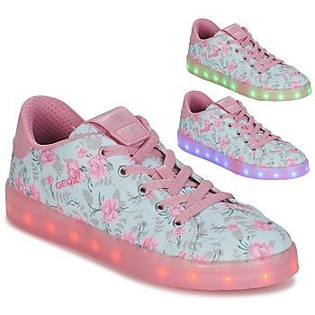 Cipők Lány Rövid szárú edzőcipők Geox J KOMMODOR G. B Kék / Rózsaszín