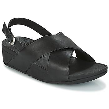 Cipők Női Szandálok / Saruk FitFlop LULU CROSS BACK-STRAP SANDALS - LEATHER Fekete