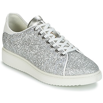 Cipők Női Rövid szárú edzőcipők Geox D THYMAR C Ezüst / Fehér
