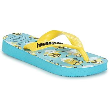 Cipők Fiú Lábujjközös papucsok Havaianas MINIONS Kék / Citromsárga