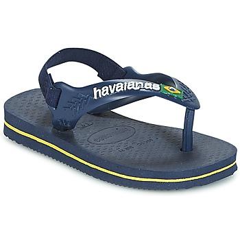 Cipők Fiú Lábujjközös papucsok Havaianas BABY BRASIL LOGO Tengerész / Citromsárga