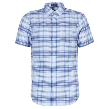 Ruhák Férfi Rövid ujjú ingek Gant BLUE PACK MADRAS REG Kék