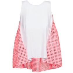 Ruhák Női Trikók / Ujjatlan pólók Manoush AJOURE CARRE Fehér / Rózsaszín