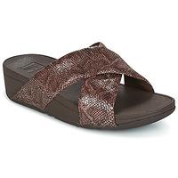 Cipők Női Papucsok FitFlop SWOOP SLIDE Csokoládé