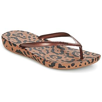 Cipők Női Lábujjközös papucsok FitFlop IQUSHION ERGONOMIC FLIP-FLOPS Bronz / Mix / Leopárd / Nyomtatott