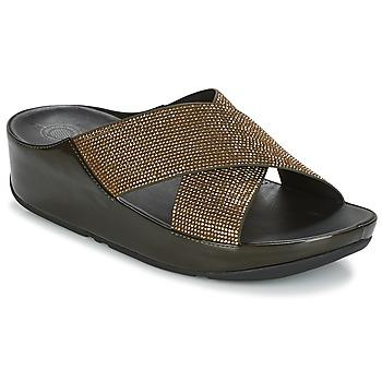 Cipők Női Papucsok FitFlop CRYSTALL SLIDE Oliva