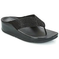 Cipők Női Lábujjközös papucsok FitFlop CRYSTALL Fekete