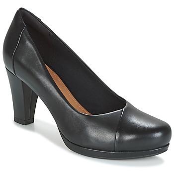 Cipők Női Félcipők Clarks CHORUS CAROL Fekete / Bőrszínű