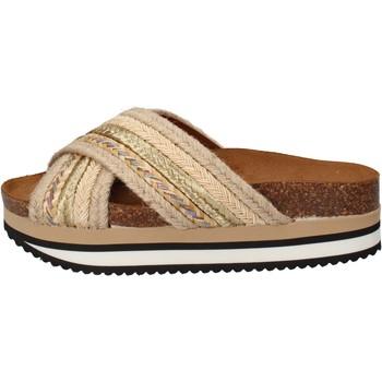 Cipők Női strandpapucsok 5 Pro Ject sandali beige tessuto oro AC586 Beige