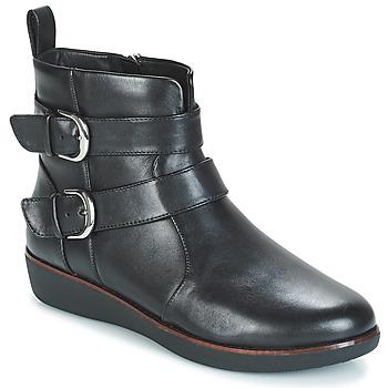 Cipők Női Csizmák FitFlop LAILA DOUBLE BUCKLE Fekete