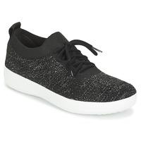 Cipők Női Rövid szárú edzőcipők FitFlop F SPORTY UBERKNIT SNEAKERS CRYSTAL Fekete