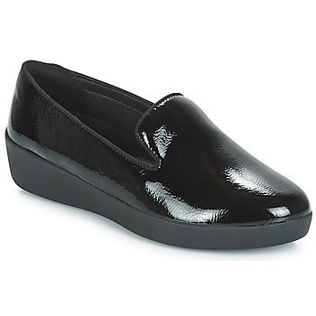 Cipők Női Mokkaszínek FitFlop AUDREY SMOKING SLIPPERS CRINKLE PATENT Fekete