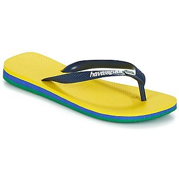 Cipők Lábujjközös papucsok Havaianas BRASIL LAYERS Citromsárga
