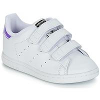 Cipők Lány Rövid szárú edzőcipők adidas Originals STAN SMITH CF I Fehér / Ezüst