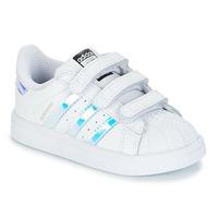 Cipők Lány Rövid szárú edzőcipők adidas Originals SUPERSTAR CF I Fehér / Ezüst