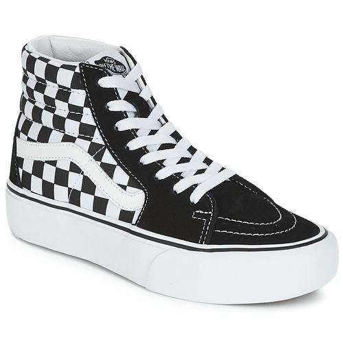 Cipők Női Magas szárú edzőcipők Vans SK8-HI PLATFORM 2.1 Fekete   Fehér e5d0717230
