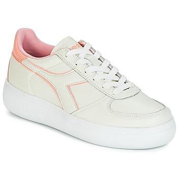 Cipők Női Rövid szárú edzőcipők Diadora B.ELITE L WIDE WN Ekrü / Rózsaszín