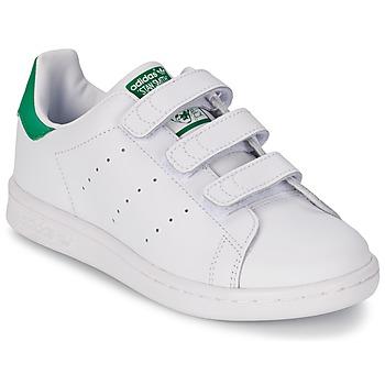 Cipők Fiú Rövid szárú edzőcipők adidas Originals STAN SMITH CF C Fehér / Zöld