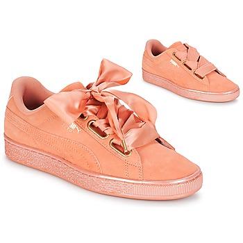 Cipők Női Rövid szárú edzőcipők Puma WN SUEDE HEART SATIN.DUSTY Narancssárga