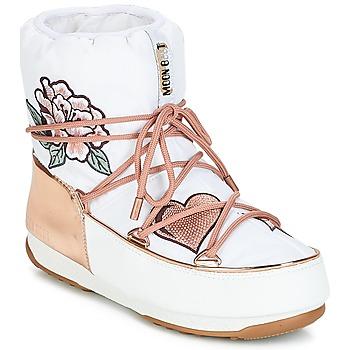 Cipők Női Hótaposók Moon Boot PEACE & LOVE WP Fehér / Rózsaszín / Arany