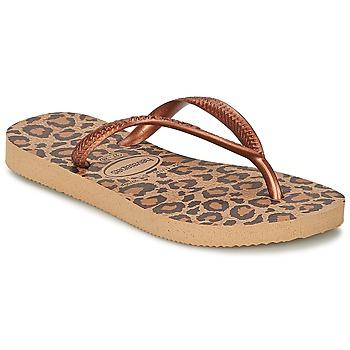 Cipők Lány Lábujjközös papucsok Havaianas SLIM ANIMALS Bronz
