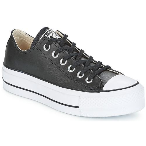 Cipők Női Rövid szárú edzőcipők Converse CHUCK TAYLOR ALL STAR LIFT CLEAN OX LEATHER Fekete  / Fehér