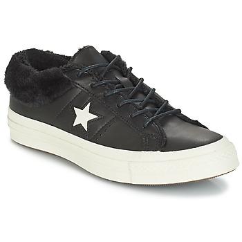 Cipők Női Rövid szárú edzőcipők Converse ONE STAR LEATHER OX Fekete
