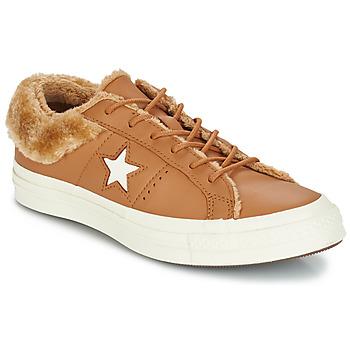 Cipők Női Rövid szárú edzőcipők Converse ONE STAR LEATHER OX Teve