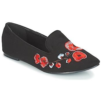 Cipők Női Mokkaszínek Moony Mood JASMINY Fekete  / Virág