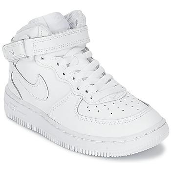Cipők Fiú Magas szárú edzőcipők Nike AIR FORCE 1 MID Fehér