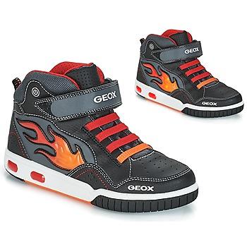 Cipők Fiú Magas szárú edzőcipők Geox JR GREGG Fekete  / Piros