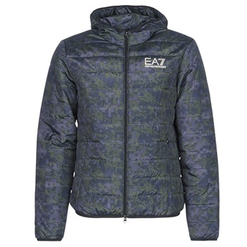 Ruhák Férfi Steppelt kabátok Emporio Armani EA7 TRAIN GRAPHIC SERIES M JACKET HOODIE ALL OVER CAMOU Keki / Kék