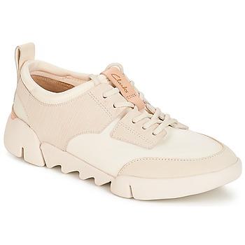 Cipők Női Rövid szárú edzőcipők Clarks Tri Spirit Fehér / Combi