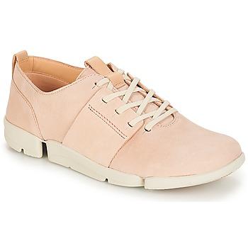 Cipők Női Rövid szárú edzőcipők Clarks Tri Caitlin Bőrszínű / Rózsaszín