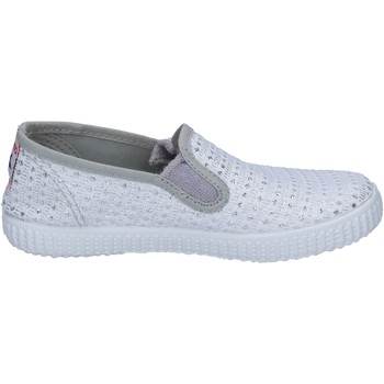 Cipők Női Belebújós cipők Cienta slip on bianco tessuto argento profumate BX350 Bianco