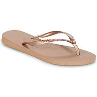 Cipők Női Lábujjközös papucsok Havaianas SLIM Rózsaszín / Arany