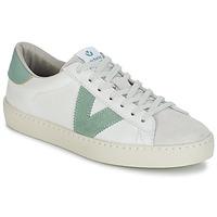 Cipők Férfi Rövid szárú edzőcipők Victoria BERLIN PIEL CONTRASTE Fehér / Zöld