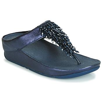Cipők Női Lábujjközös papucsok FitFlop RUMBA TOE THONG SANDALS Kék