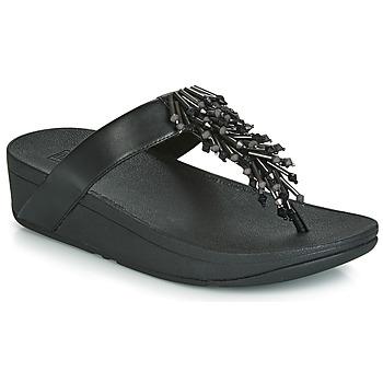 Cipők Női Lábujjközös papucsok FitFlop JIVE TREASURE Fekete