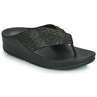 Cipők Női Lábujjközös papucsok FitFlop TWISS CRYSTAL Fekete