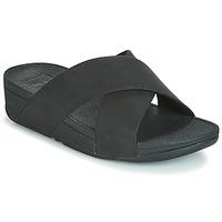 Cipők Női Papucsok FitFlop LULU SHIMMERLUX SLIDES Fekete