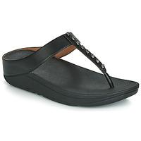 Cipők Női Lábujjközös papucsok FitFlop FINO TREASURE Fekete
